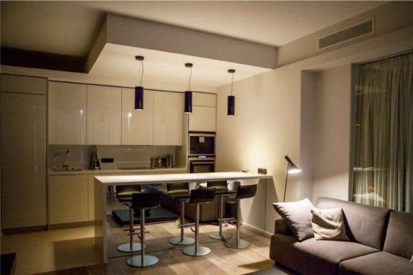 зонирование кухни гостиной с помощью потолка