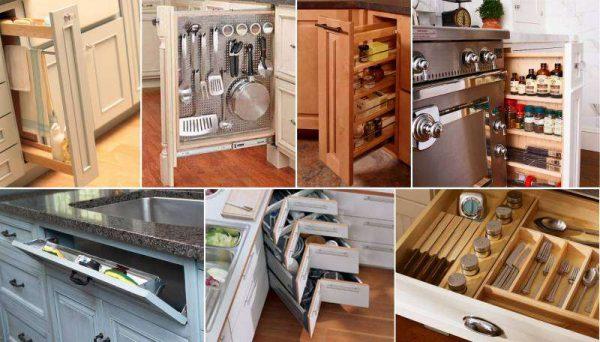 умные места для хранения на кухне гостиной