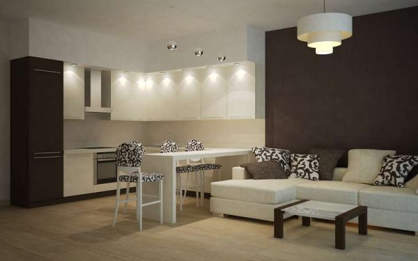 угловой белый кухонный гарнитур в интерьере небольшой кухни гостиной