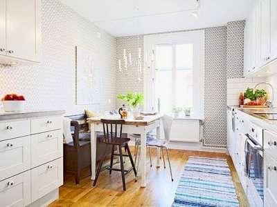 светлый интерьер кухни гостиной