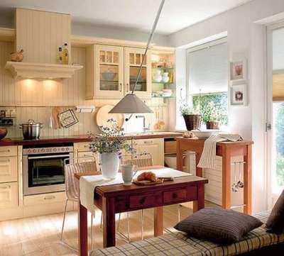 персиковая кухня гостиная