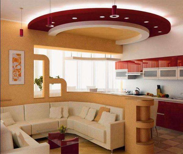совмещённая кухня гостиная