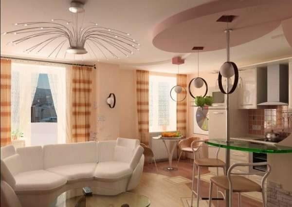 белый диван в интерьере небольшой кухни гостиной