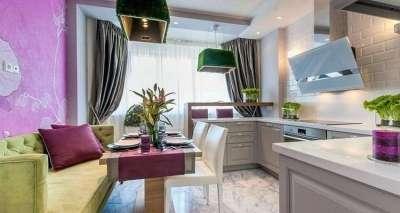 Дизайн проект кухни-гостиной 14 кв.м с диваном