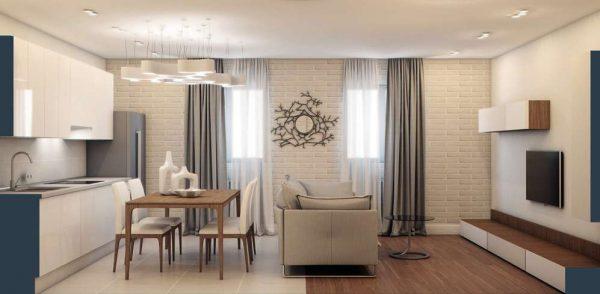 кухня гостиная в минималистическом стиле