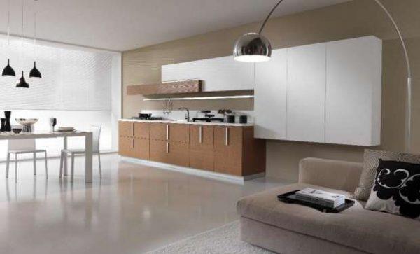 минимализм на кухне гостиной