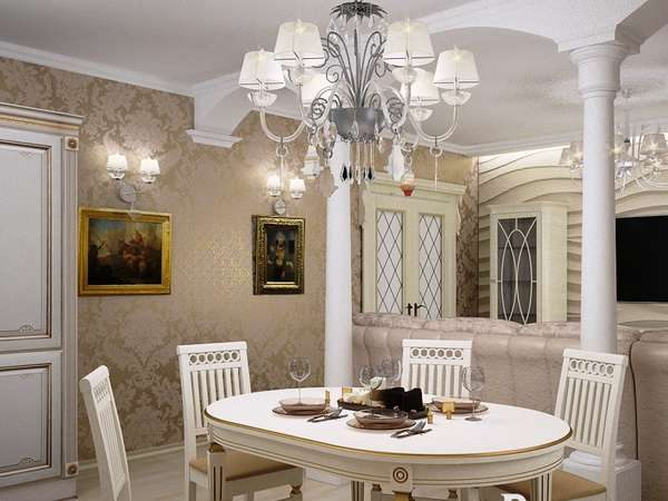 колоны в интерьере кухни гостиной