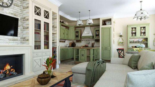 стиль прованс в интерьере кухни гостиной