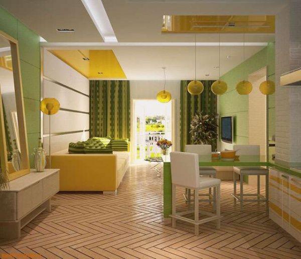 интерьер кухни гостиной с барной стойкой