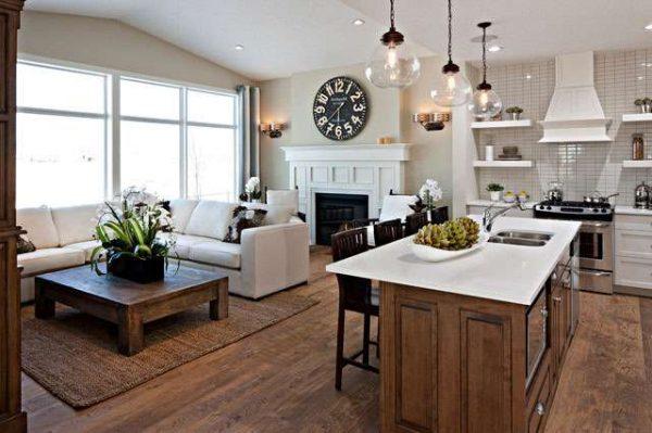 островная зона в интерьере кухни гостиной