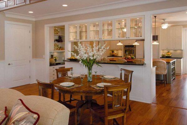 перегородка для зонирования в интерьере кухни гостиной