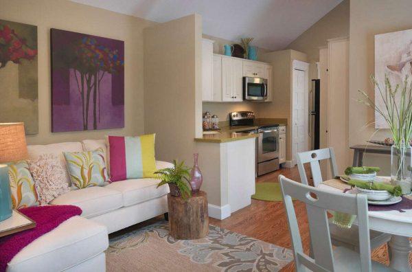 яркие подушки в интерьере кухни гостиной