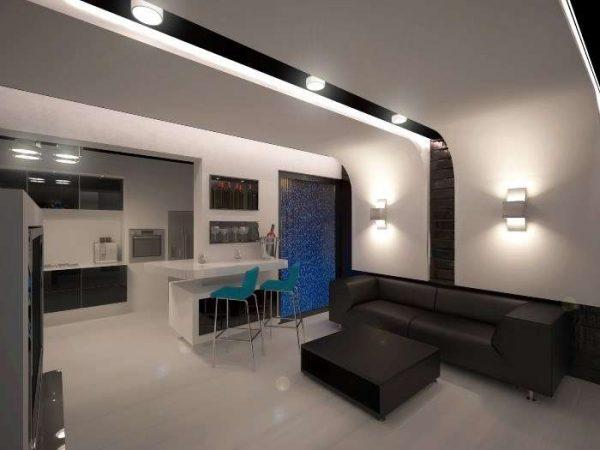 зоны на кухне-гостиной освещением