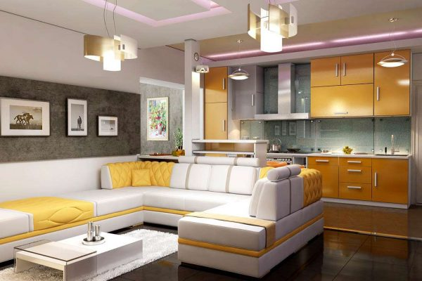 зонирование с помощью дивана в интерьере кухни-гостиной 30 кв. метров