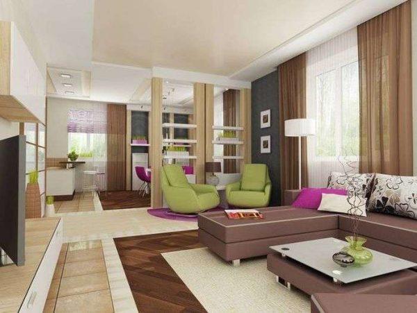 зонирование перегородкой кухни-гостиной 30 кв. метров