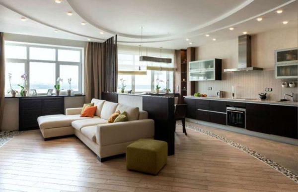 бежевый и шоколадный цвета в интерьере кухни-гостиной 30 кв. метров
