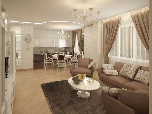 шоколадный цвет в интерьере кухни гостиной 30 кв. метров