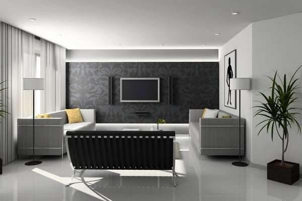 интерьер небольшой гостиной в стиле хай тек