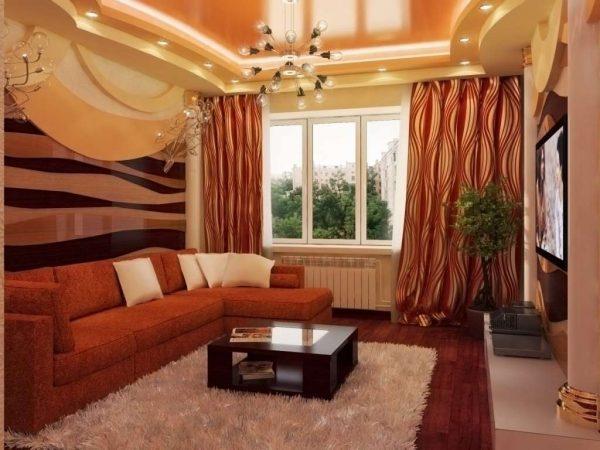 интерьер небольшой гостиной цвета корицы
