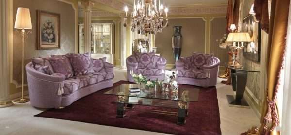 мебель лавандового цвета в гостиной классика