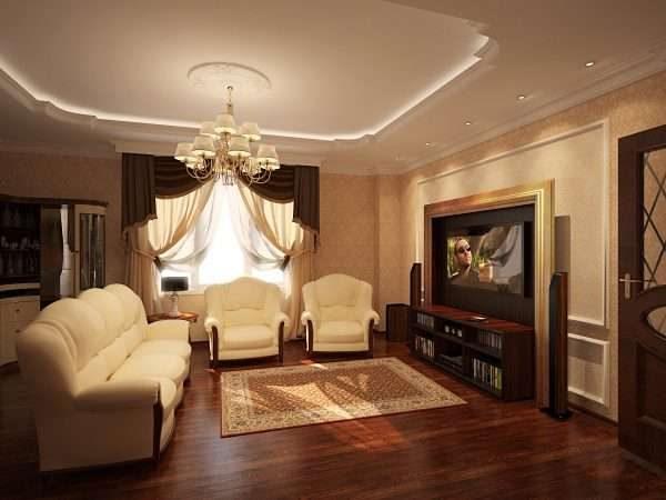 светлая диванная группа в гостиной в классическом стиле