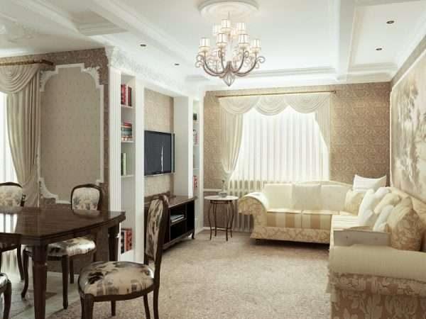 светлый интерьер гостиной классика
