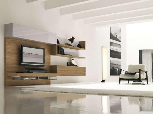 модульная стенка в интерьере гостиной модерн