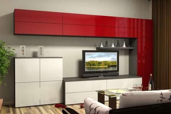 красно-белая современная модульная стенка с гладкими фасадами в интерьере гостиной