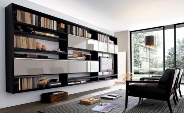современная модульная стенка с открытыми полками для книг в интерьере гостиной