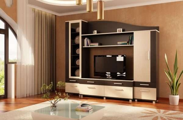 бежево-коричневая модульная стенка прямая в интерьере гостиной