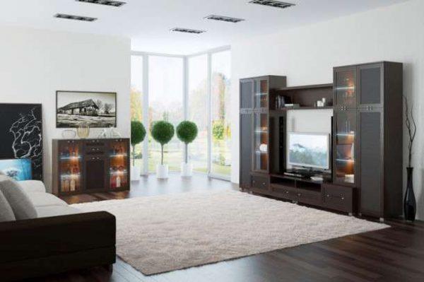 компактная современная модульная стенка в интерьере гостиной