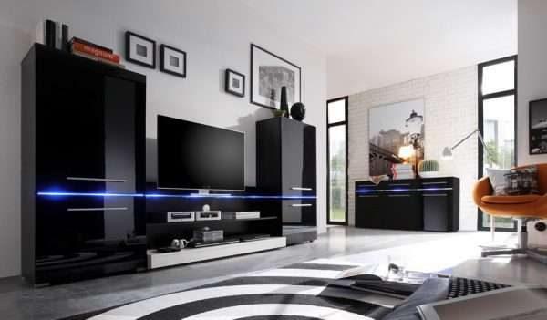 современная модульная стенка чёрного цвета с подсветкой