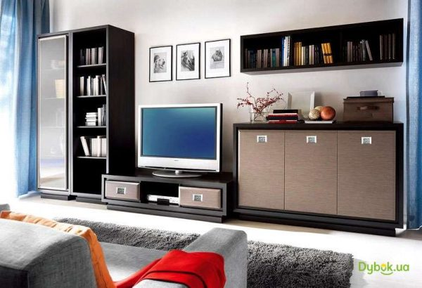 Модульная мебель в интерьере гостиной из МДФ