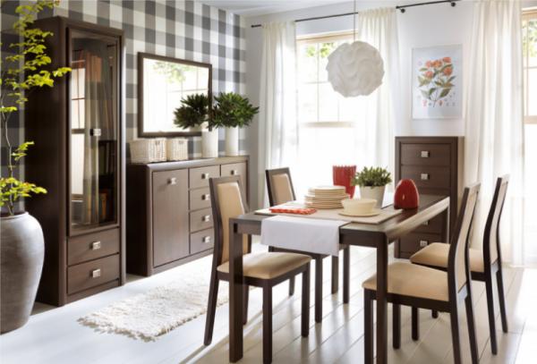 модульная мебель для гостиной с обеденным столом