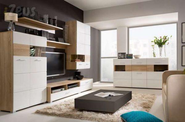 светлая модульная мебель в интерьере гостиной