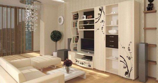 бежевая модульная мебель для гостиной