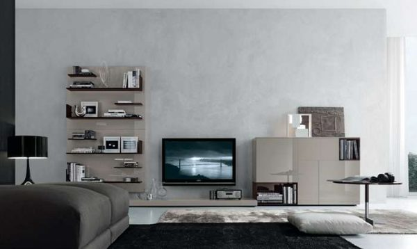 модульная мебель с открытыми полками для гостиной