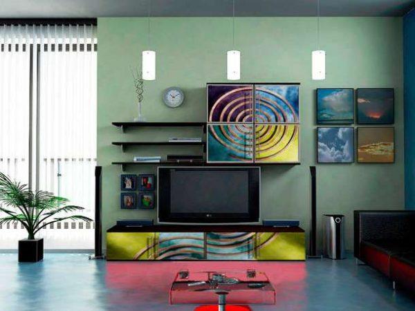 яркая модульная мебель для гостиной