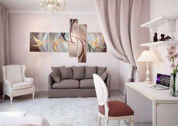 модульная картина абстракция органично вписывается в цветовой фон гостиной