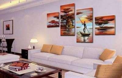 модульная картина размещённая в хаотичном порядке в интерьере гостиной над диваном