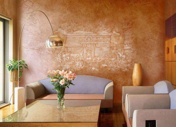 Оформление стен в гостиной декоративная штукатурка