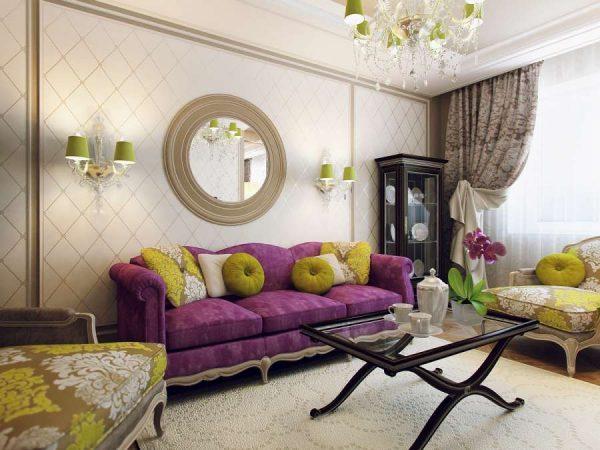 роскошный декор стен в гостиной
