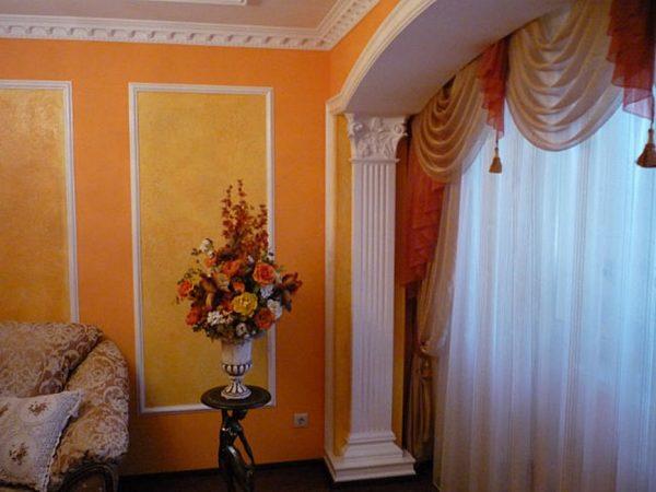декоративная штукатурка на стенах в гостиной