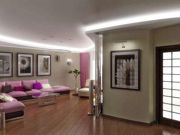 пастельные стены в гостиной