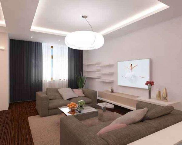 многоуровневый потолок с подсветкой в гостиной с ремонтом эконом класса