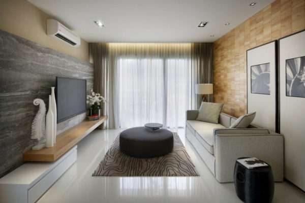 потолок из гипсокартона в гостиной с подстветкой