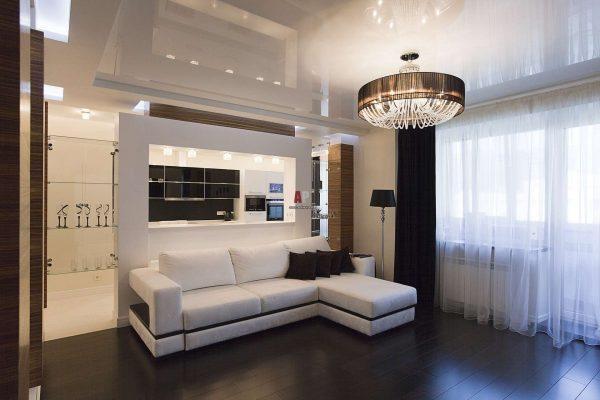 угловой диван в интерьере гостиной эконом класса