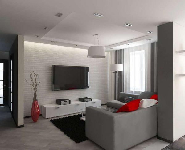 яркий декор в гостиной с ремонтом эконом класса