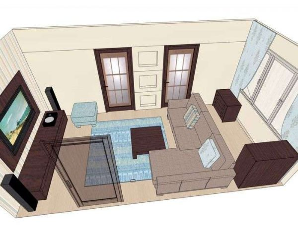 планировка расстановки мебели в гостиной