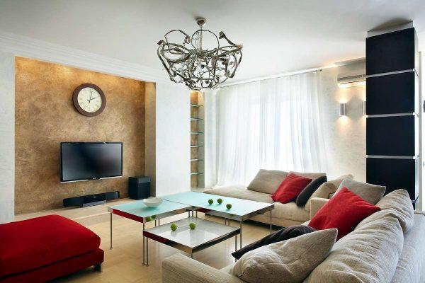 интерьер гостиной после ремонта в красных и белых цветах